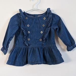 Calvin Klein Jeans denim ruffle shirt with buttons